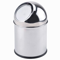 Clipper Mill by GET SSTB-11 6 3/4 inch x 11 inch Stainless Steel Mirrored Finish Tabletop Trash Can with Dome Lid