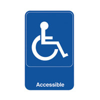 Vollrath 5644 Traex® Handicap Accessible Sign - Blue and White, 6 inch x 9 inch