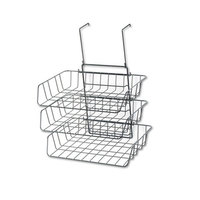 Fellowes 75310 Partition Additions 13 1/2 inch x 10 5/8 inch x 17 7/8 inch Black Wire Triple Tray Organizer