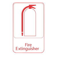Vollrath 5618 Traex Fire Extinguisher Sign - White and Red, 6 inch x 9 inch