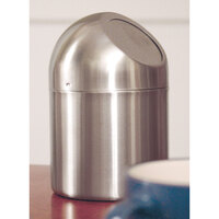 Clipper Mill by GET SSTB-6 4 3/4 inch x 7 1/2 inch Stainless Steel Tabletop Trash Can with Flap Lid