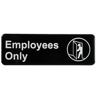 Vollrath 4506 Traex Employees Only Sign - Black and White, 9 inch x 3 inch