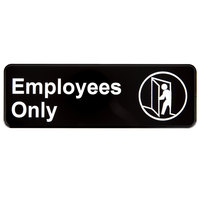 Vollrath 4506 Traex® Employees Only Sign - Black and White, 9 inch x 3 inch