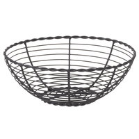 Clipper Mill by GET WB-701 8 inch Black Powder Coated Iron Round Braided Wire Basket