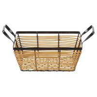 Clipper Mill by GET WB-707 10 inch x 7 1/2 inch Honey Wicker / Powder Coated Iron Rattan and Wire Basket