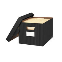 Fellowes 0029803 Banker's Box 12 inch x 15 inch x 10 inch Black Letter / Legal File Storage Box with Locking Lid - 4/Case