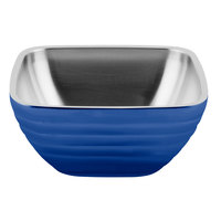 Vollrath 4763725 Double Wall Square Beehive 8.2 Qt. Serving Bowl - Cobalt Blue