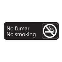 Vollrath 4589 Traex® No Fumar / No Smoking Sign - Black and White, 9 inch x 3 inch