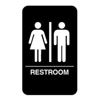 Vollrath 5633 Traex® Restroom Sign with Braille - Black and White, 6 inch x 9 inch