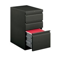 HON 33723RS Efficiencies Charcoal Three-Drawer Mobile Pedestal Filing Cabinet - 15 inch x 22 7/8 inch x 28 inch