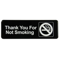 Vollrath 4521 Traex Thank You For Not Smoking Sign - Black and White, 9 inch x 3 inch
