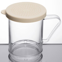 Cambro 96SKRD135 Camwear 10 oz. Polycarbonate Shaker with Beige Lid for Salt and Ground Pepper