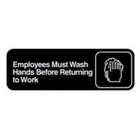 Vollrath 4530 Traex Employees Must Wash Hands Before Returning to Work Sign - Black and White, 9 inch x 3 inch