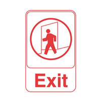 Vollrath 5609 Traex® Exit Sign - White and Red, 6 inch x 9 inch