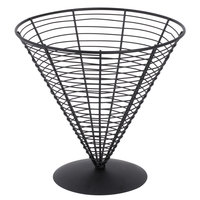 Clipper Mill by GET WB-705 9 1/2 inch Black Powder Coated Iron Cone Wire Basket