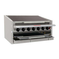 MagiKitch'n CM-RMBCR-636 36 inch Natural Gas Countertop Cast Iron Radiant Charbroiler - 105,000 BTU