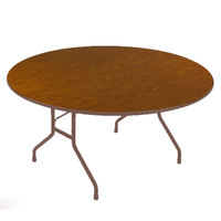 Correll CF60PX06 60 inch Round Medium Oak High Pressure Heavy Duty Folding Table