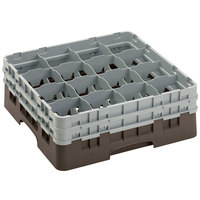 Cambro 16S534167 Camrack 6 1/8 inch High Customizable Brown 16 Compartment Glass Rack
