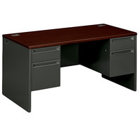 HON 38180NS 38000 Series 72 inch x 36 inch x 29 1/2 inch Mahogany/Charcoal Metal 3/4 Height Double Pedestal Desk