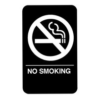 Vollrath 5638 Traex® No Smoking Sign with Braille - Black and White, 6 inch x 9 inch