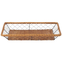 Clipper Mill by GET WB-704 16 1/2 inch x 11 3/4 inch Honey Wicker / Powder Coated Iron Rattan and Wire Basket