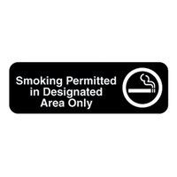 Vollrath 4544 Traex Smoking Permitted in Designated Area Only Sign - Black and White, 9 inch x 3 inch