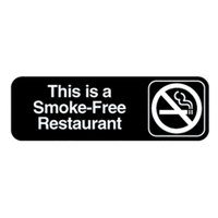 Vollrath 4524 Traex This Is A Smoke-Free Restaurant Sign - Black and White, 9 inch x 3 inch