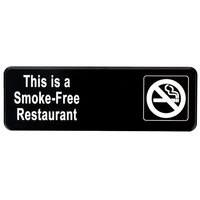 Vollrath 4524 Traex® This Is A Smoke-Free Restaurant Sign - Black and White, 9 inch x 3 inch
