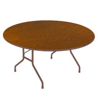 Correll CF48PX06 48 inch Round Medium Oak High Pressure Heavy Duty Folding Table