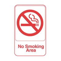 Vollrath 5643 Traex® No Smoking Area Sign - White and Red, 6 inch x 9 inch