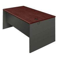 HON 38932NS 38000 Series 60 inch x 30 inch x 29 1/2 inch Mahogany/Charcoal Metal Desk Shell