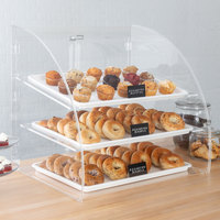 Vollrath ELBC-1 Large 3 Tray Euro Curved Front Acrylic Bakery Display Case with Rear Doors - 29 3/4 inch x 24 1/8 inch x 27 3/4 inch