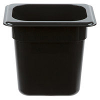 Cambro 86CW110 Camwear 1/8 Size Black Food Pan - 6 inch Deep