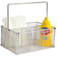 Clipper Mill by GET WB-700 Chrome Plated Iron Flatware Caddy - 9 3/8 inch x 6 7/8 inch x 4 1/2 inch