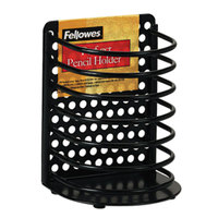 Fellowes 22307 Perf-Ect 3 1/2 inch x 3 inch x 4 7/8 inch Black Metal Pencil Cup