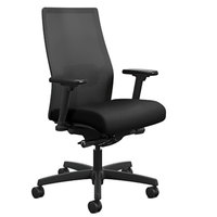 HON LWU2ACU10 Endorse Upholstered Black Mid-Back Work Chair with Casters