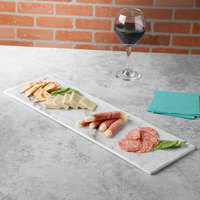 Thunder Group SB520W 20 3/4 inch x 6 1/4 inch White Shadow Faux Marble Melamine Serving Board