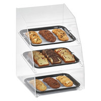 Vollrath MBC1014-3R-06 Medium Classic 3 Tray Acrylic Bakery Display Case with Split Rear Doors - 14 1/2 inch x 17 inch x 21 inch