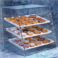 Vollrath LBC Large 3 Tray Euro Angled Front Acrylic Bakery Display Case with Front and Rear Doors - 28 inch x 24 inch x 28 inch