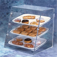 Vollrath SBC Small 3 Tray Euro Angled Front Acrylic Bakery Display Case with Front and Rear Doors - 19 1/4 inch x 18 1/4 inch x 21 1/4 inch