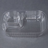 Carnival King Two Compartment Plastic Nacho Tray - 8 inch x 6 inch x 1 1/2 inch 500 / Case