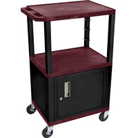 Luxor WT2642BYC2E-B Burgundy Tuffy Two Shelf Adjustable Height A/V Cart with Locking Cabinet - 18 inch x 24 inch