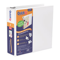 Stride 88050 QuickFit White View Binder with 3 inch Round Rings