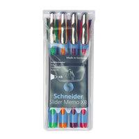 Stride 150295 Schneider Slider Memo XB Assorted Ink with Assorted Barrel Color 1.4mm Ballpoint Stick Pen - 4/Set