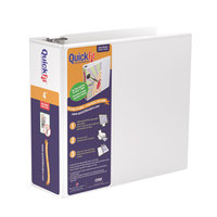 Stride 87060 QuickFit White View Binder with 4 inch Locking Slant Rings