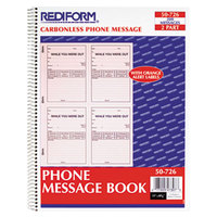 Rediform 50726 2-Part Wirebound Phone Message Book with 200 Forms
