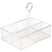 Clipper Mill by GET WB-900 2-Compartment Stainless Steel Rectangular Wire Caddy with Card Holder - 10 inch x 7 inch x 3 inch