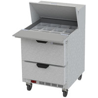 Beverage-Air SPED27HC-12M-B Elite Series 27 inch 2 Drawer Mega Top Refrigerated Sandwich Prep Table