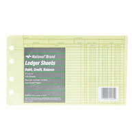 Rediform Office 14055 5 inch x 8 1/2 inch Green Ledger 4-Ring Binder Refill Sheets   - 100/Pack