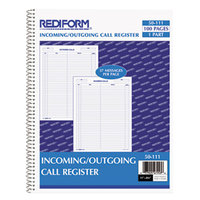 Rediform 50111 11 inch x 8 1/2 inch Wirebound Call Register with 100 Forms
